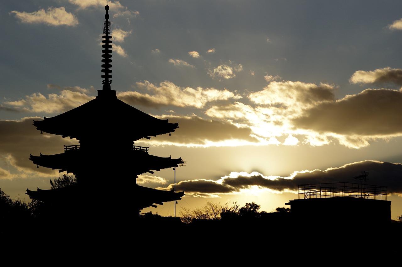 仁和寺「五重塔」と夕日