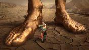 大きな足と戦う人