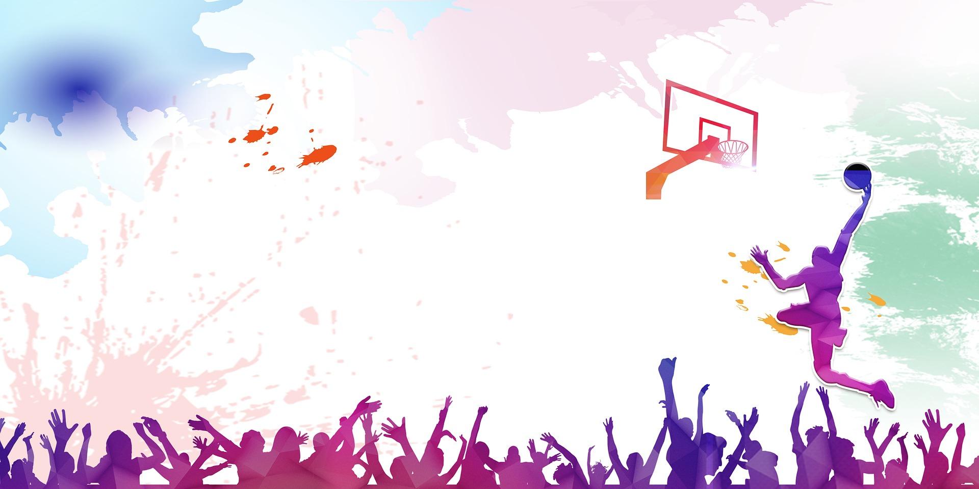 バスケットボールをする男と歓声