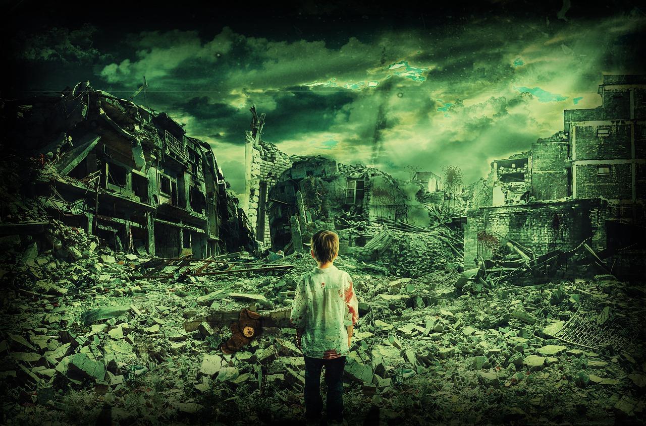 戦争の後、絶望する子供