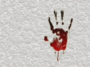 血の手跡がついた壁